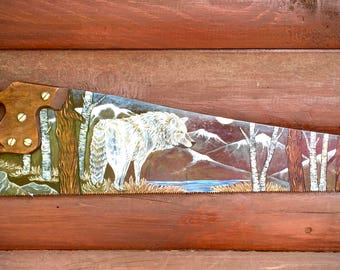Vintage saw art, hand painted Disston & Son carpenter saw, original wolf painting, mountains, lake, aspen and pine trees, cabin home decor