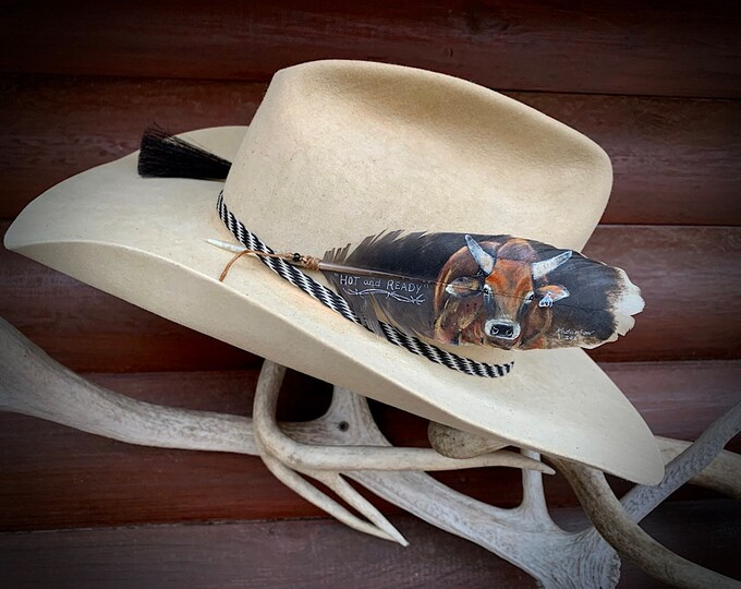 Custom hat feather, bucking bull portrait on a small rare covert turkey feather, western retro rodeo fashion, cowboy hat feather, original