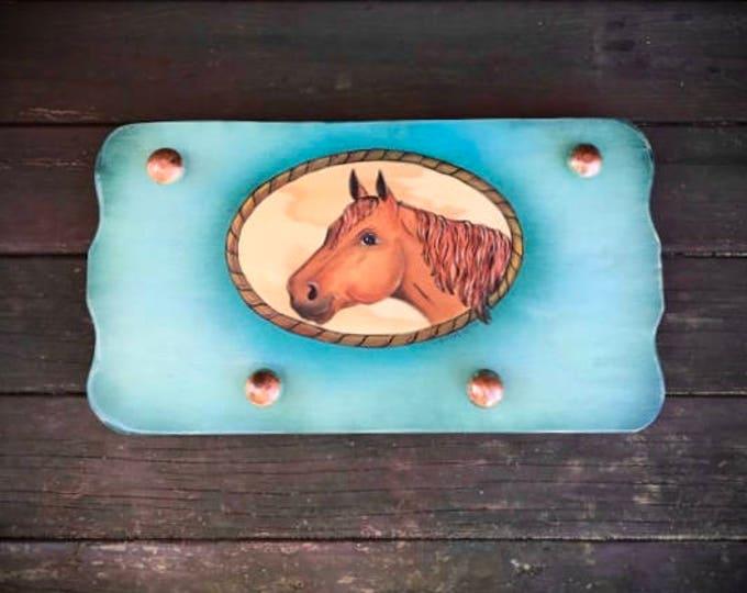 Original western horse decor, turquoise and copper, horse art, coat or hat hanger, towel hook