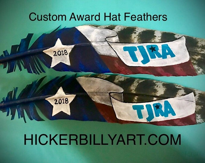Award hat feathers, association awards custom designed, unique handmade award, trophy feathers, custom cowboy hat feathers, no job to big!