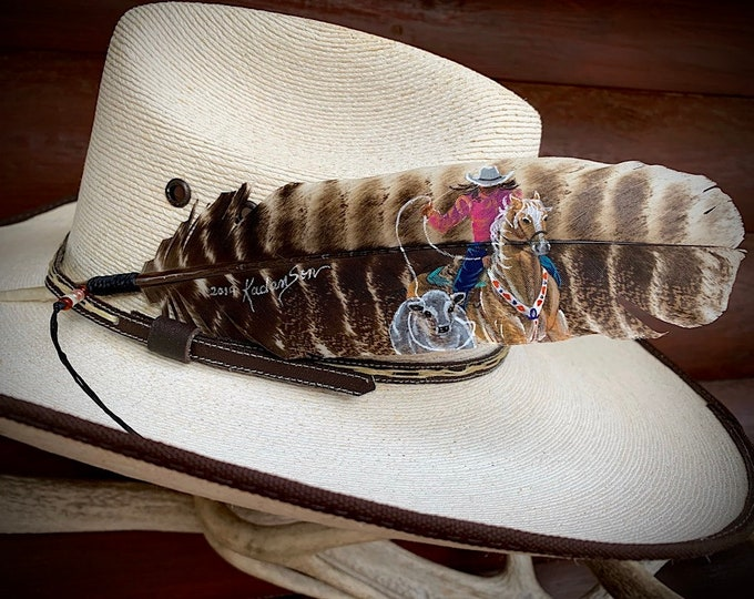 BREAKAWAY ROPING, cowgirl hat feather, womens breakaway roping, custom painted hat feather, personalized for cowboy or cowgirl hat accessory