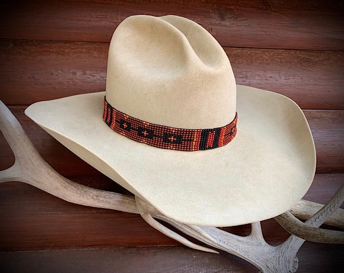 Beaded cowboy hat band, stretch style burnt orange, rust, yellow, black, western retro hat band, boho hippie hat hand, hat accessory