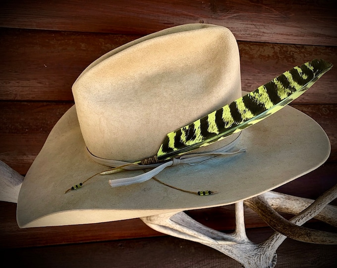 Cowboy hat feathers,Lime green, uniquely dyed wild turkey primary wing feather, handmade sinew wind tie with lime green and black beads