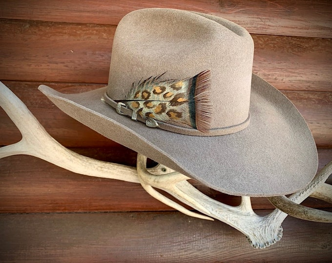 Custom hat feather, cowgirl chic, small LEOPARD pattern hand painted wild turkey bronze pretail feather, western retro, boho hippie hat, art