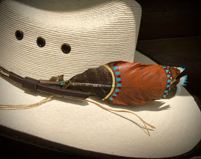 Custom mini hat feather, southwestern mini hat feather, turquoise, copper, red, yellow, beautiful natural bronze turkey feather, mini size
