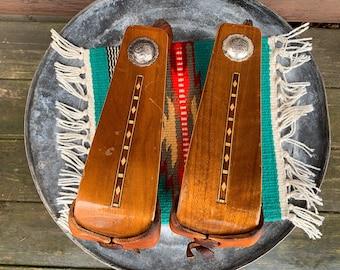 Vintage custom made laminated wood stirrups with wood inlay, never used, custom western saddle stirrups, handmade , western decor, cowboy
