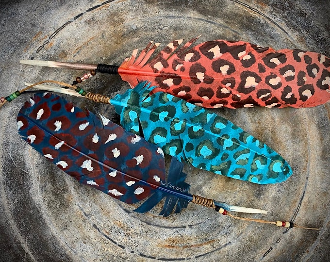 Wild leopard custom hat feathers, choice of colored leopard pattern hat feathers with matching beaded sinew wind tie, retro western fashion