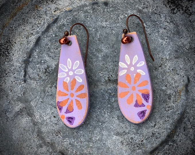 Leather earrings, purple, lavender and copper flowers hand painted on leather with copper bead, drop dangle handmade earrings, jewelry, chic