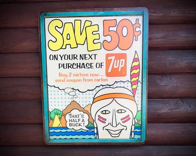 Vintage 7UP advertisement sale poster, retro Indian, antique retro decor, decoupage art, retro art, rustic decor, western decor, southwest