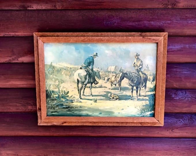 Vintage, 1965 A.Kelly Pruitt, Rancho De Taos artist, western art, canvas art, cowboys on cattle drive, cowboy art, western home decor