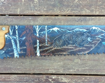 Rustic decor, Saw art, vintage cross cut saw, original acrylic painting Bear in the woods, mountain lake scene, aspen trees, cabin decor
