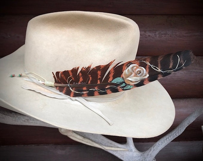 Custom hat feather for women, roses, barbwire, western retro fashion, ladies hat accessories, rust colored wing feather, ecru rose, cowgirl
