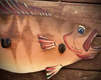 "Fish art, hand painted Bass, ""Funky Fish"" coat or hat rack, rustic decor, cabin decor, fly fishing, lake decor, lake home, rustic furniture"