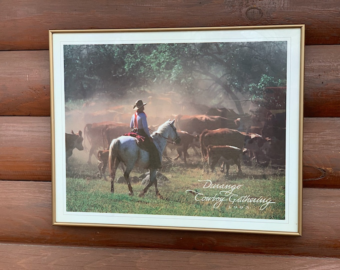 Vintage western decor poster, 1993 Durango Cowboy Gathering, western working ranch cowboy photography, wall decor, cowboy decor, western art