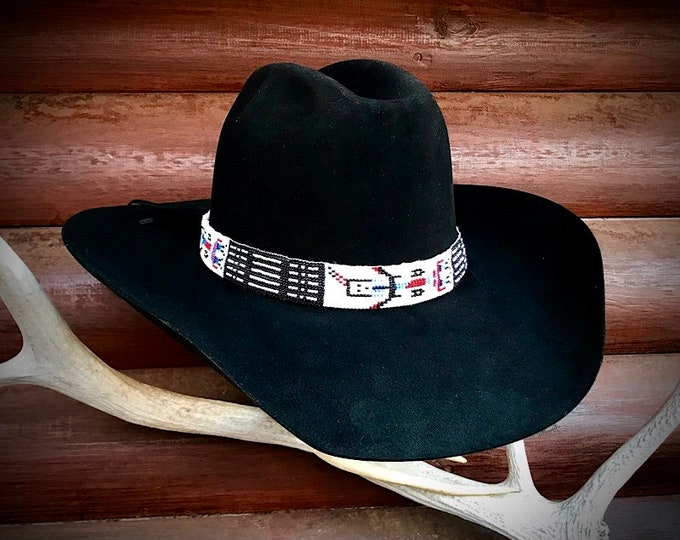 Yei Dancer beaded hat band, cowboy hat band, black, white seed bead, retro cowboy, blue, red, pearl Yei Dancer, cowboy hat accessories, art