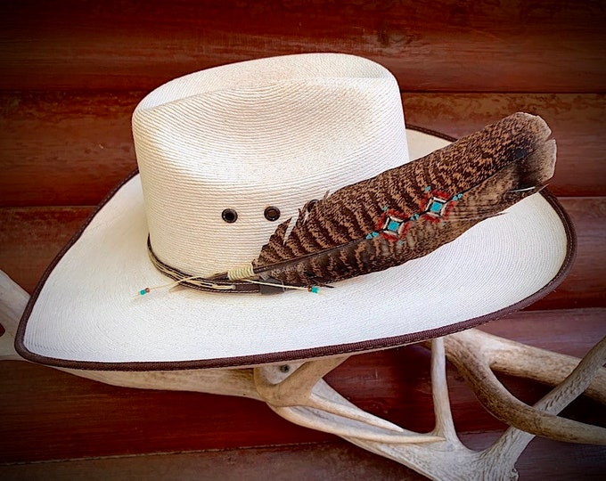 Custom hat feather, rare mottled wild turkey wing hand painted in native fashion, western retro hat accessories with beaded wind tie,cowgirl