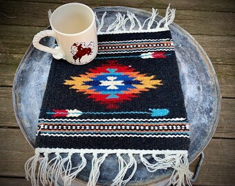 Southwest hand woven wool mat, 10 x 10 table accent, southwestern, mexican style, western decor, rustic decor, farmhouse decor, arrow design