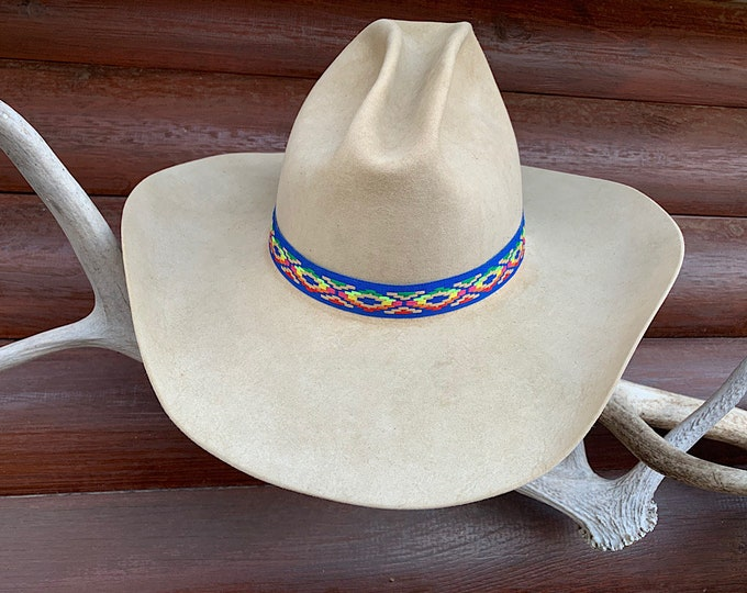 Hat band, colorful rainbow of colors woven cloth hat band 7/8 wide, adjustable one size fits all, boho hippie, blue hat band, hat accessory