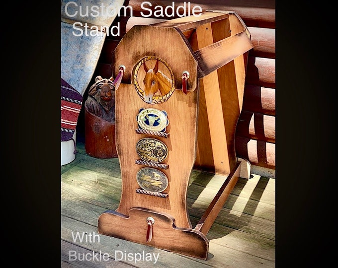 Custom saddle stand with trophy buckle display, personalized with painting of your horse, leather tie conchos, original rustic western decor