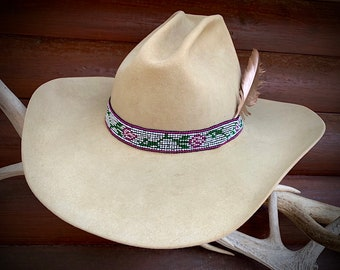Womens beaded hat band, cowgirl hat band with roses, elastic, stretch beadwork hat band, white, pink roses, green, western retro fashion art