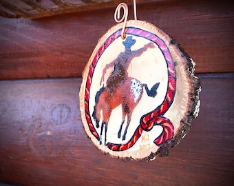 Christmas ornament, rustic western ornament hand painted and stenciled bucking bronc, rope on rustic wood slab with bark, western Holiday