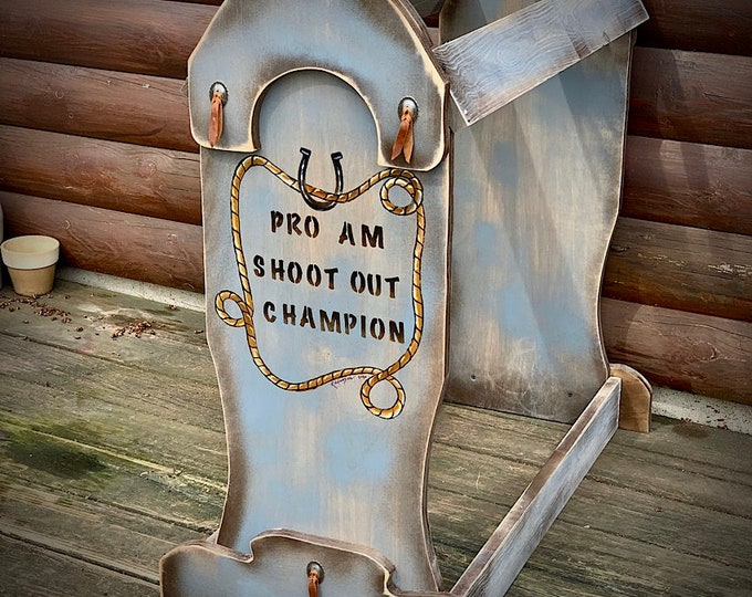 Custom SADDLE STAND, made to order trophy saddle stands, saddle stands for award programs, display for western saddle, western decor, retro