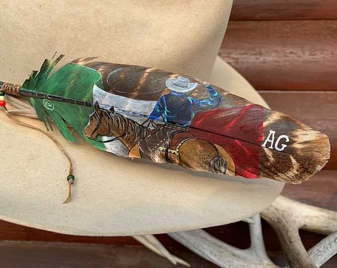 Custom hat feather hand painted original art on turkey feather, cowboy swinging lariat rope and horse, Mexican flag Background, personalized
