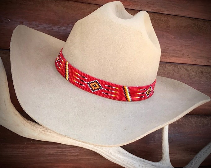 "Beaded hat band, 1"" wide, red native style beaded unique hat band, western hat band, retro cowboy hat band, unique hat bands, western hats"
