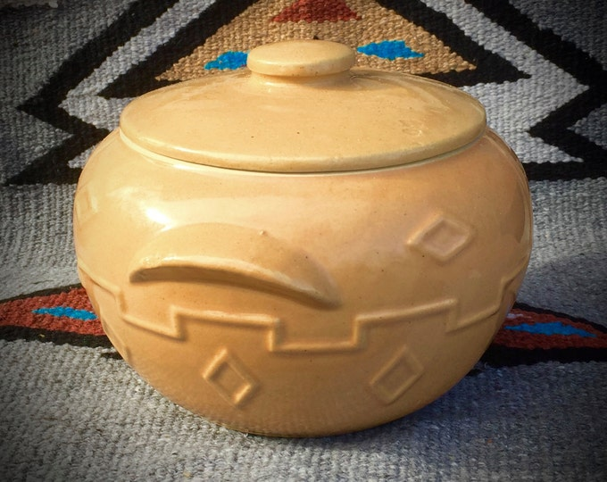 Vintage, rare, Western stoneware co, pottery, bean pot, cookie jar, southwest pottery w lid, western kitchenware, cowboy kitchen, farmhouse
