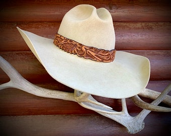 Leather hat band, carved leather hat band, western retro, hat accessories, 23 inches long, 1 3/16 wide, natural leather, tooled belt floral