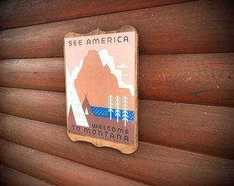 Montana travel poster, vintage print, USA travel bureau poster, vintage poster with teepees, mountains, trees, southwest, decoupaged art