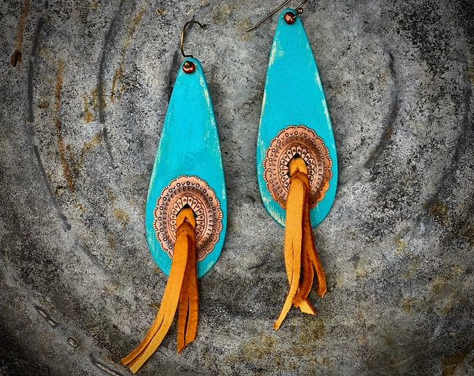 Boho western jewelry, leather copper concho earrings, handmade with deerskin leather, slot conchos, turquoise, western, southwest, cowgirl