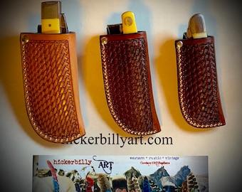 Leather knife sheath, basket weave tooled leather with belt loop, 3 sizes available, pocket knife, folding knife sheath, trapper knife