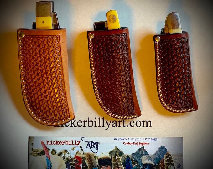 Leather knife sheath, basket weave tooled leather with belt loop, 3 sizes available, pocket knife, folding knife sheath, trapper knife