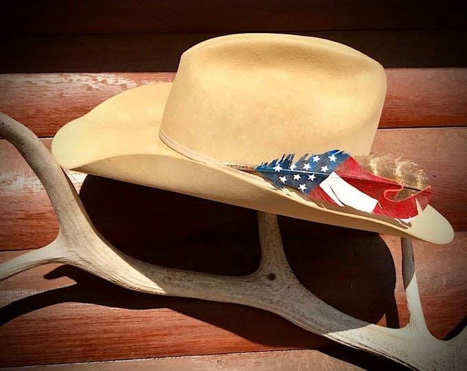 American mini flag hat feather, small painted hat feather,custom cowboy hat feather, red white and blue with stars in a flowing flag, rodeo