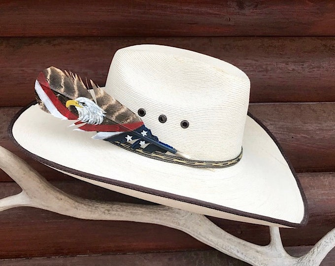 Mini, custom hat feather, american hat feather, painted turkey feather, american flag hat feather, patriotic cowboy hat feather, cowboy hat