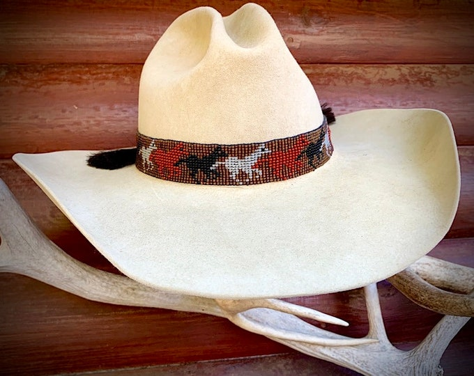 Beaded hat band with horse hair ties and tassels, special edition running horses, brown, rust, grey, black, custom hat accessories, western