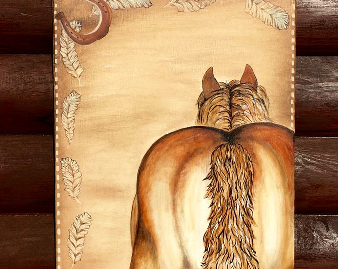 Western art, horse art hand painted, vintage style, backstitch, southwestern feather decor, cowboy decor, farmhouse decor, ranch house decor
