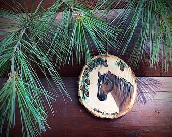 Christmas ornaments, custom personalized western ornaments, rustic slab wood, horse head design, Merry Christmas, personalize  name and date