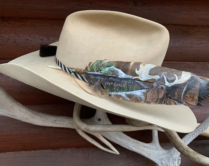 Hat feather, Moose hunter, custom painted commemorative feather, big game hunter, hunting guide, western retro, hat accessory, feather art