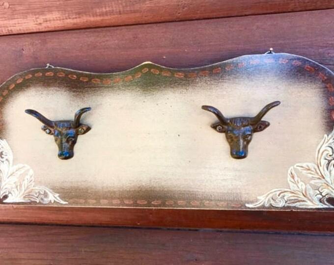 Rustic western decor, hat hanger, coat hanger, keychain hook, western display, bridle hook, western tack display, iron steer head hooks