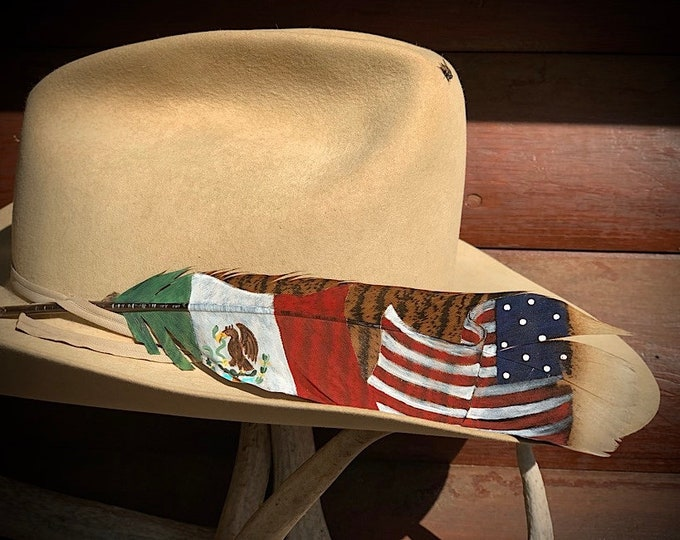 NEW style Mexico and American flag cowboy hat feather, hand painted on a wild turkey tail feather, retro western, cowboy hats, cowgirl hat