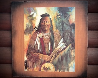 Indian Spirit of the wolf print by Ruane Manning, rustic decoupage art on wood, Southwest home decor, rustic home decor, western home decor