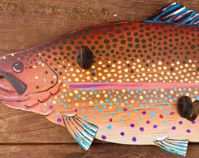 "Fish art, hand painted trout, ""Funky Fish"" coat or hat rack, rustic decor, cabin decor, fly fishing"