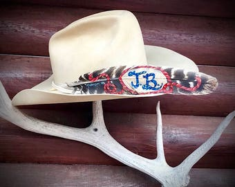 3d5f249f Custom Cowboy Hat Feather Personalize Initials Or Brand Of Your Choice  Cowboy Hat Hand Painted With Western Lariat Rope Custom Lettering