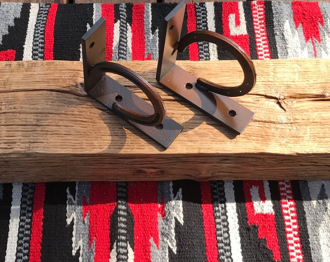 Rustic, handmade, pair, set of 2, western horseshoe mantel shelf brackets, heavy duty, western decor, rustic decor, antiqued rustic finish