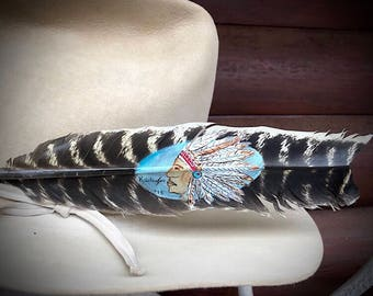 Custom cowboy hat feather, Big Chief, hand painted natural style turkey wing feather, painted feather art, boho, western retro cowboy