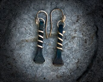 Western jewelry, horse shoe nail earrings, handmade, wire wrapped with silver, and sterling silver handmade earwires, dangle drop earrings