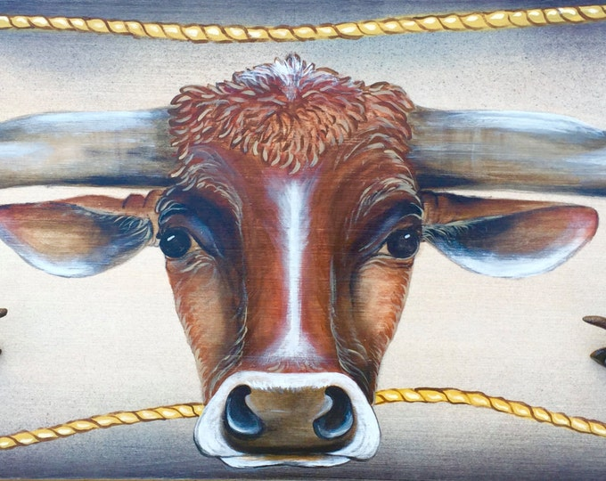 western decor, rustic, original acrylic painting, longhorn roping steer, with rope accent and iron steer head hangers, coat,cap rack