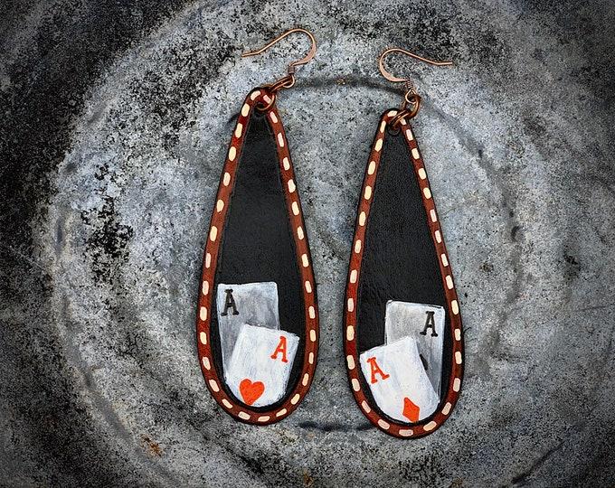 Handmade leather earrings, western retro jewelry, dangle drop earrings, Pair of Aces, The Gambler earrings, 3 inch drop, boho hippie fashion